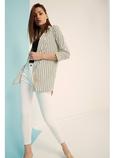 Modaset Çizgili Ceket Beyaz Beyaz